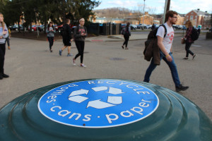 All of the dumpsters on campus explain the single-stream system (by Trista Thurston)