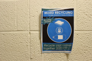 An advertisement in an Ohio University residence hall for the single-stream recycling initiative